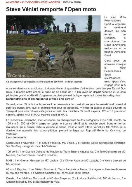 L montagne resultats motocross pms 19 09 13