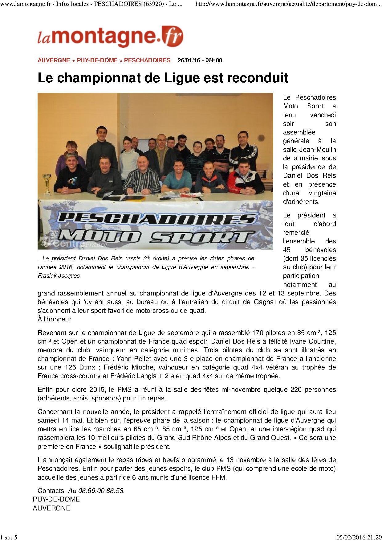 Www lamontagne fr infos locales peschadoires 63920 le championnat de ligue est reconduit